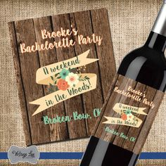Bachelorette Party Wine Label, Bachelorette Party Favor, Bachelorette Wine Label, Bachelorette Party Gift, Bachelorette Decorations  Bachelorette party wine labels. Start the bachelorette party off right with custom wine bottle labels. These labels are great to add a personalized touch to any occasion. You can customize each label with colors that coordinate with your theme.  HOW IT WORKS ------------------------------------------------------------------------ 1. Each label measures 4x5 and…