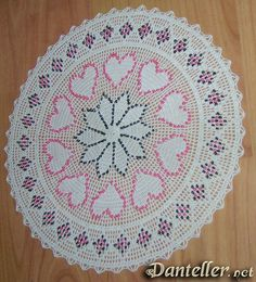 Crochet bead lace for Valentine's Day