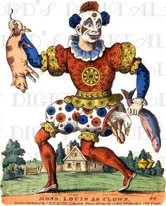 Colorful ANTIQUE Clown with Pig and Fish! Vintage Clown Illustration. CIRCUS Digital Download. Perfect for Paper Crafts!.