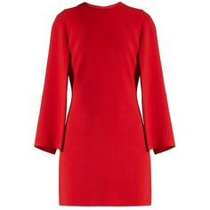 Givenchy Round-neck long-sleeved cady mini dress (5790690 PYG) ❤ liked on Polyvore featuring dresses, red, red slit dress, slit dresses, slimming dresses, long sleeve mini dress and short slit dress