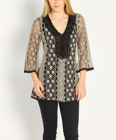 Love this Black & Gray Lace V-Neck Top on #zulily! #zulilyfinds