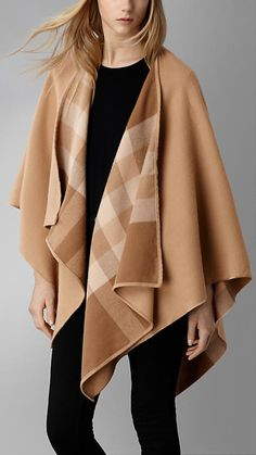Mid camel chk Check-Lined Wool Wrap - Image 1