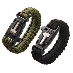 Outdoor Camping Men Bracelet Rescue Paracord Parachute Cord Wristbands Emergency Rope Flint Scraper Whistle Buckle Survival Kits
