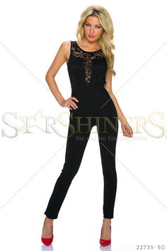 Laced Affair Black Jumpsuit Product Label, Black Jumpsuit, Fall Trends, Leather Material, Every Woman, Clothing Items, Lace Detail, Beautiful Outfits, Affair
