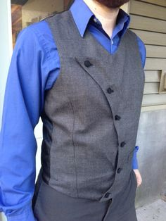 Steampunk Mens Vest Fashion Gray Wool Asymmetrical Waistcoat Alternative Wedding Victorian Clothing Custom to Order Nigerian Men Fashion, Indian Men Fashion, Patagonia Vest Outfit, Sharp And Dapper, Mens Tailored Suits, Men's Waistcoat, Mens Kurta Designs, Men's Coats And Jackets, Cool Suits