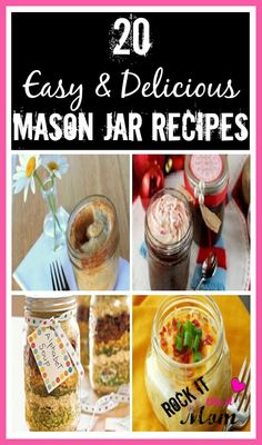 I'm a Jar Junkie! And with these 20 Delicious Mason Jar Recipes...I'm in Heaven! Choose from a great selection of recipes that are perfect as gifts, or single serving meals for gatherings!