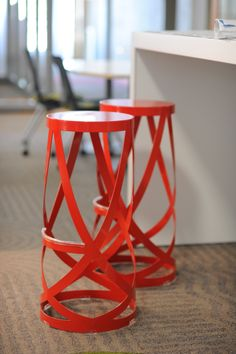 Haworth Ribbon Stool in high-gloss red