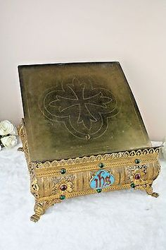 Antique French Jeweled Religious Church Brass Bible Stand Enamel Plaque stones