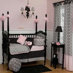 Black and White Damask Crib Bedding and Nursery Decor