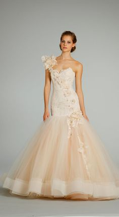 Glamorous: Lazaro Wedding Dresses 2013 Collections, One Shoulder Floral Ivory Wedding Dress With Tulle Stripe Edge