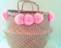 Seagrass Belly Basket Black Color Pom Pom Straw Bag Panier