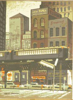 Original Vintage Mark Coomer City and Train Serigraph by HodesH, $40.00