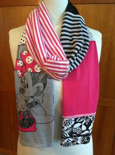 UPCYCLED t-shirt scarf... MINNIE MOUSE... DIsney... pink, black, grey, white. $22.00, via Etsy.