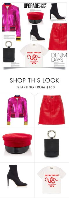"""Hot Pink and Denim Skirts"" by lidia-solymosi ❤ liked on Polyvore featuring Gucci, Simon Miller, Giuseppe Zanotti, hotpink and denimskirt"