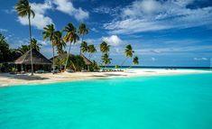 Malediwy, Ocean, Morze, Palmy, Plaża, Domki, Chmury