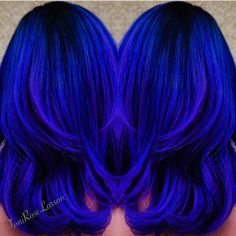 """My Blue Heaven Royal blue color design by Toni Rose Larson @colordollzbytoni #hotonbeauty #kenra"""