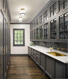 New kitchen backsplash gray cabinets butler pantry Ideas Kitchen Butlers Pantry, Grey Kitchen Cabinets, Butler Pantry, Kitchen Backsplash, New Kitchen, Dark Cabinets, Kitchen Grey, Kitchen Wood, Pantry Cabinets