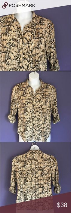 """Talbots Snake Print Blouse Take a walk on the wild side!  This snake print blouse looks amazing with black shorts or capris.  The sleeves can be rolled up or down.  Measurements (Flat):  Length - 24""""/Bust - 21""""/Waist - 20"""" Talbots Tops Blouses"""