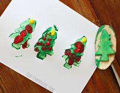 christmas tree potato stamp craft for kids - crafty morning