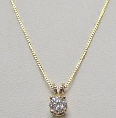 "14K YELLOW GOLD 1/2 CARAT DIAMOND SOLITAIRE PENDANT 20"" CHAIN NECKLACE .50 CT #Pendant"
