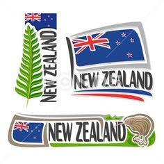 Vector logo for New Zealand Stock Illustration , New Zealand Symbols, Nz History, Eps Vector, Photo Illustration, Banner, Clip Art, Logo, Architecture, Banner Stands