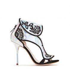 Leoni hologram sandal with embroidered flower detail by sophia webster