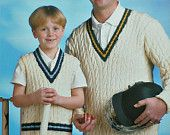 """Knitting pattern for Dads and Lads Cricket Jumpers in Double Knitting by King Cole (No. 2940). Sizes 24"""" - 46"""" (61 - 117cms)."""