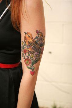 http://tattoo-ideas.us/wp-content/uploads/2013/12/Birdie-And-Flowers.jpg Birdie And Flowers #Birds, #Cutetattoos, #Sleevetattoos