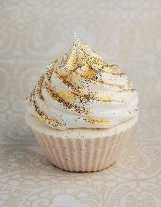 White Cupcake with  Edible Gold Glitter