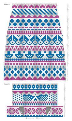 Kirjoneulesukat – katso ohje | Meillä kotona Fair Isle Knitting Patterns, Knitting Charts, Knitting Stitches, Knit Patterns, Free Knitting, Knitting Socks, Baby Knitting, Cross Stitch Borders, Crochet Chart
