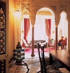 beautiful interior adorned with islamic style architecture and decor.