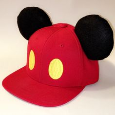 Mickey Mouse Snapback with Mouse Ears (Adult) by TreasuresUntoldMaker on Etsy https://www.etsy.com/listing/273929818/mickey-mouse-snapback-with-mouse-ears