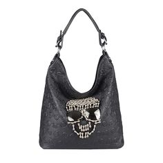 Grosse Nieten Tasche Totenkopftasche Gothic Punk Skull Bag weiss white Edition