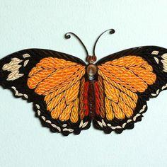 quilled orange/black butterfly - by: Stephanie Djun