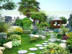 3d Landscape, Landscape Plans, Garden Design, House Design, Pond Landscaping, Outdoor Furniture Sets, Outdoor Decor, Tropical Garden, Traditional House
