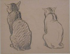 Théophile-Alexandre Steinlen, Two studies of a cat (Late - early century) Cat Drawing, Painting & Drawing, Karl Martens, Cat Anatomy, Nature Sketch, Watercolor Cat, Realistic Drawings, Western Art, Ancient Art