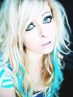 Bibi Barbaric emo scene hair style blonde blue curly eyes make up by  BiBi BaRbArIc , via Flickr emo-hairstyles