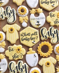What will baby bee cookies for a gender reveal! I love that my customer request. What will baby bee cookies for a gender reveal! I love that my customer requested sunflowers in addition to the bee theme as I feel like reveal ideas for party Gender Reveal Cookies, Bee Gender Reveal, Gender Reveal Themes, Gender Reveal Party Decorations, Baby Gender Reveal Party, Unique Gender Reveal Ideas, Baby Reveal Ideas, Disney Gender Reveal, Gender Party