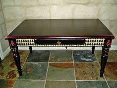 Black & Red Harlequin Coffee Table---Love the detail on this painted table