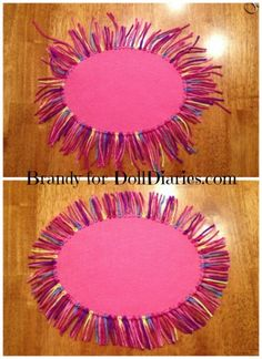 Easy and Colorful RUG for Your Dolls DIY tutorial. Pattern of desired shape and size Felt (pink) Yarn (Gumdrop by Red Heart Yarns) Scissors Small tip scissors Crochet hook Sharpie My American Girl Doll, American Girl Crafts, American Girl Clothes, Barbie Doll House, Barbie Dolls, Ag Dolls, Girl Dolls, American Girl Accessories, Doll Accessories