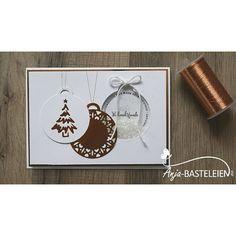 """Schüttelfensterkarte """"Weihnachtsfreude"""" mit """"Allerbeste Wünsche"""" in Flüsterweiß und Kupfer. #stampinup #demonstrator #schüttelfensterkarte #allerbestewünsche"""