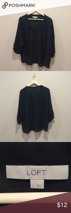 Ann Taylor Loft Black top size small A beautiful preloved but in EUC Ann Taylor Loft black blouse. It is 3/4 length with loose sleeves and it is a size small. If you have any questions just ask Ann Taylor Tops Blouses