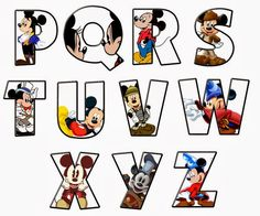 Mickey alphabet p-z. Mickey Mouse Letters, Mickey Mouse Classroom, Minnie Y Mickey Mouse, Disney Letters, Disney Alphabet, Mickey Mouse Parties, Mickey Party, Mickey Mouse Birthday, Disney Mickey
