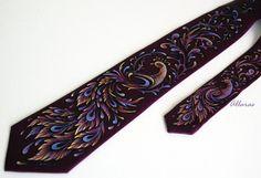 Phoenix. Hand Painted Silk Tie. by Allaras on Etsy