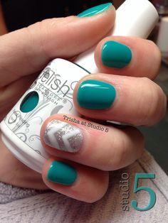 Gelish nails with glitter accent #gelish #gelpolish