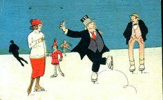 Fiinbeck og Fia. Utg Brødr. H. Finnbeck står på skøyter. Postgått 1932.