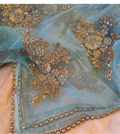 Peach and baby blue Kurta Designs, Saree Blouse Designs, Indian Attire, Indian Wear, Pakistani Outfits, Indian Outfits, Indian Couture, Saree Dress, Elegant Outfit