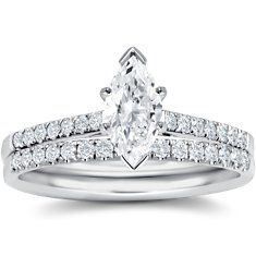 Petite Pavé Diamond Engagement Ring and Band in 18k White Gold (1/6 ct. tw.)  $1,880