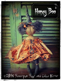 Primitive Halloween Witch ... by Homespun Hugs and Calico Kisses Primitives
