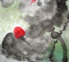 """蓮 (""""Lian"""") - LOTUS  Ink & Color on Silk"""
